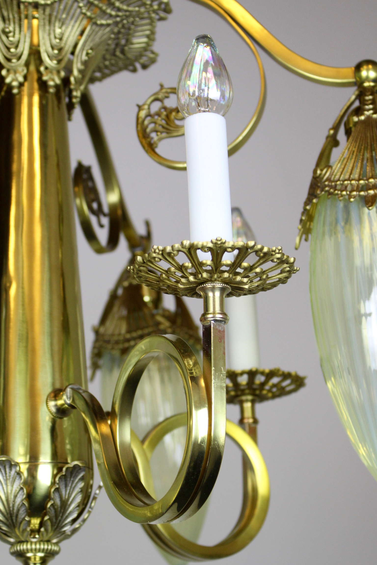 Victorian Gas Electric Chandelier With Striped Opalescent