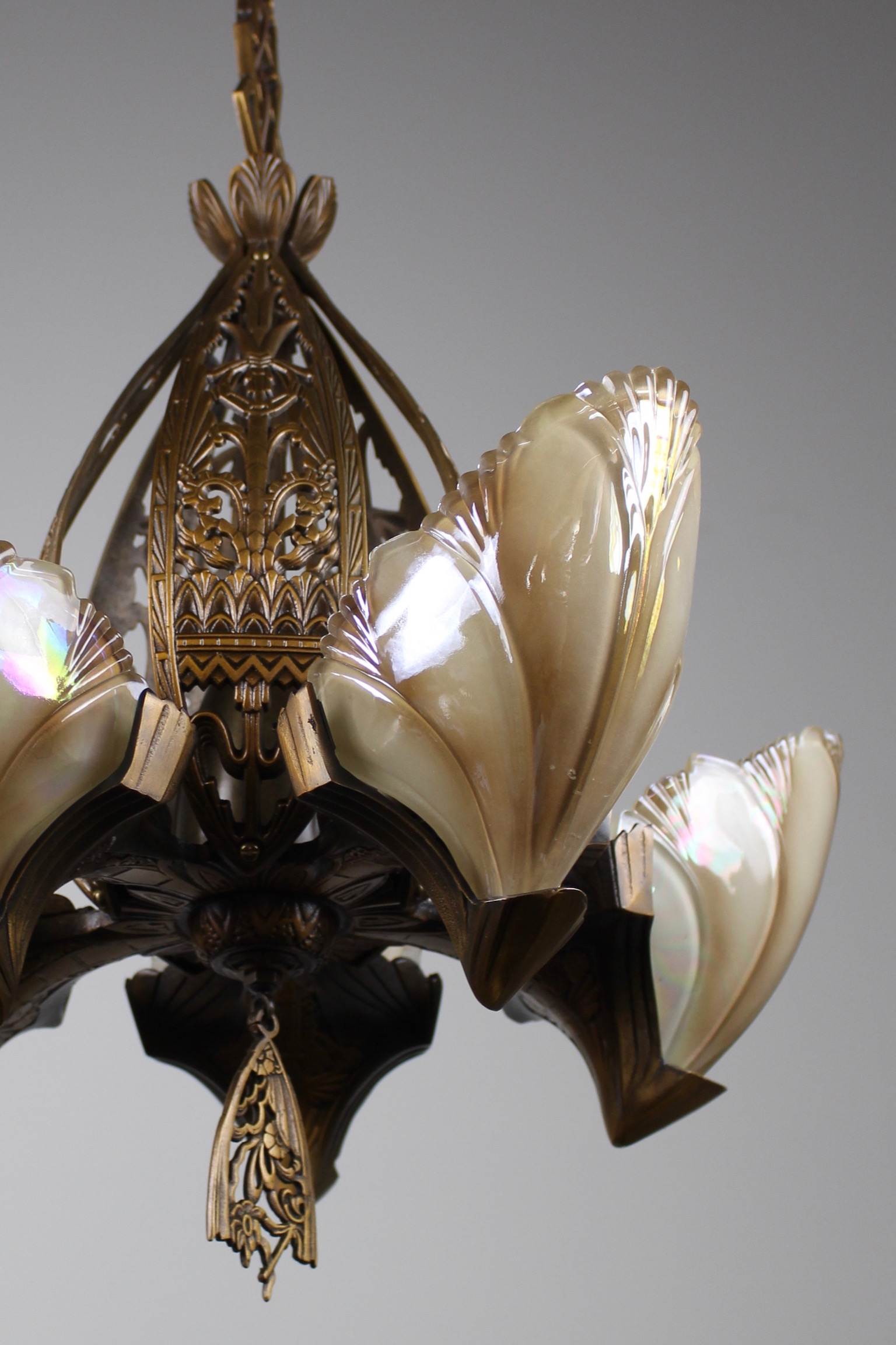 Original art deco fixture with iridescent oyster coloured shades tags art deco slip shades arubaitofo Image collections