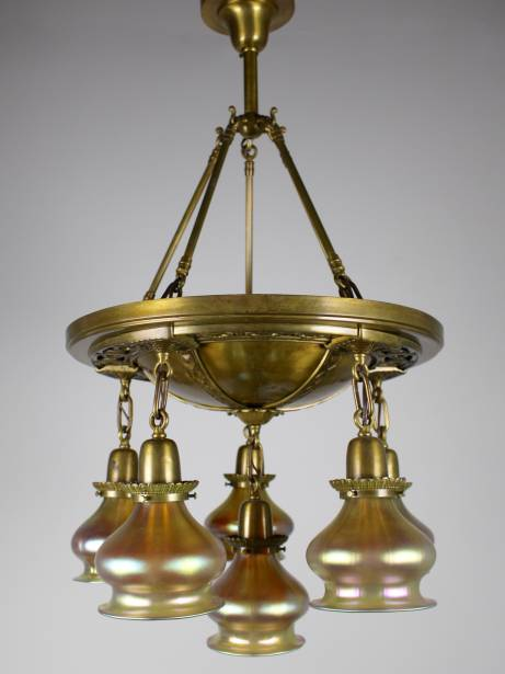 DF1321 Decorative Pan Light with Brass Castings and Art Gass Shades 6-Light