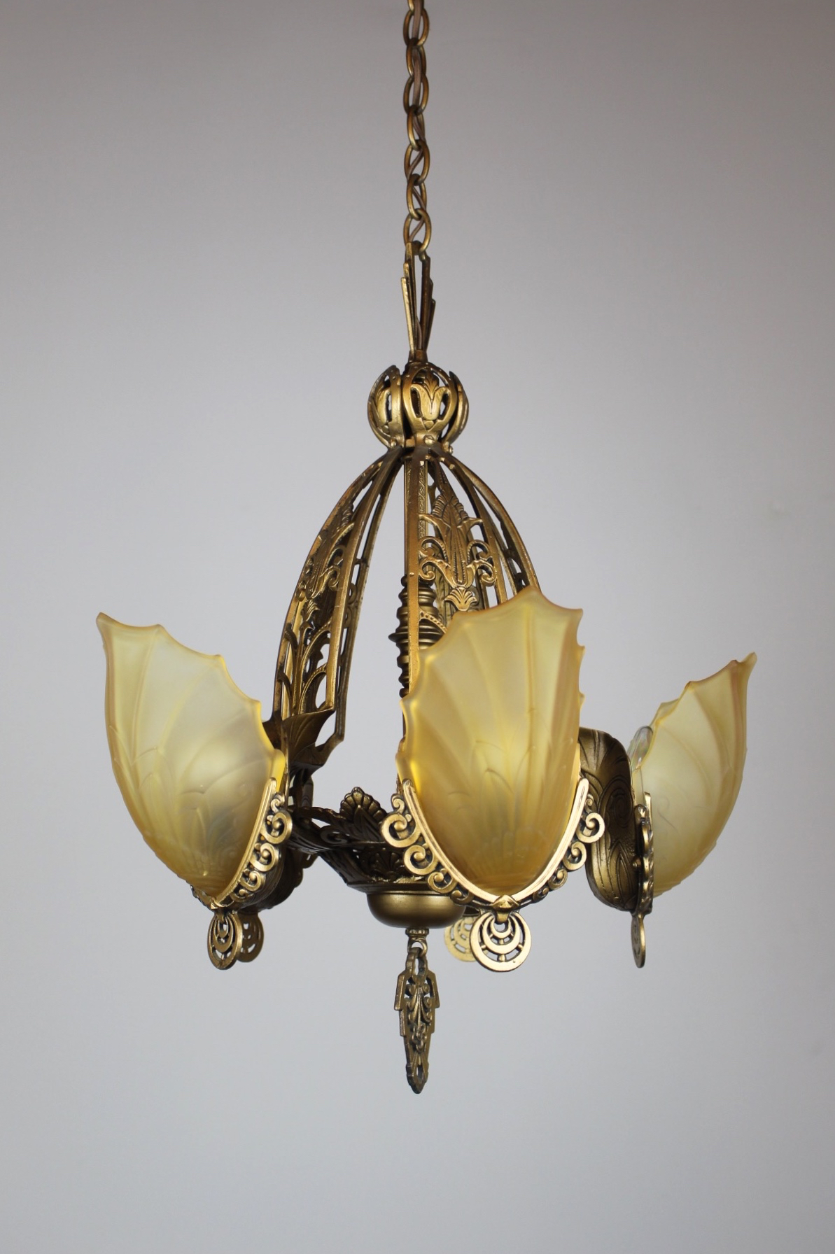 Original Art Deco Slip Shade Fixture 5 Light