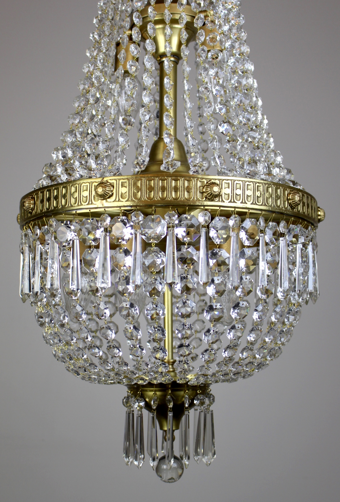 Georgian Styled Crystal Basket Fixture