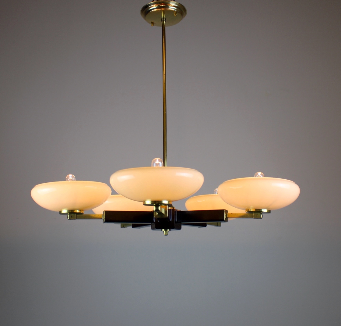 5 light mid century modern bakelite fixture for Mid century modern pendant light fixtures