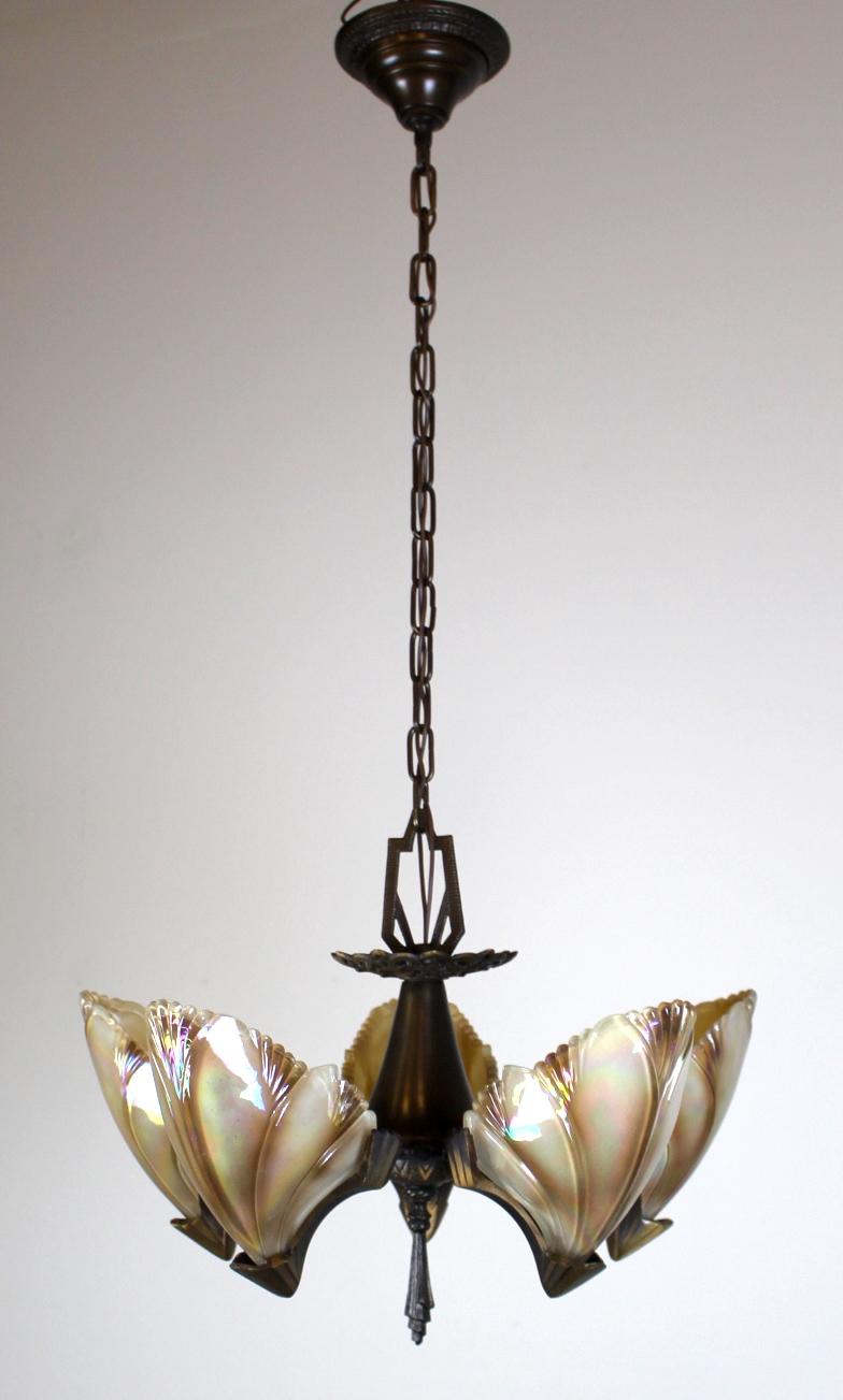 5 Light Art Deco Bat Wing Fixture